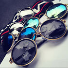 Men Women Vintage Steampunk Polarized Sunglasses Round Mirro
