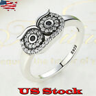 Vintage Owl Rings 925 Silver Ring Jewelry Wedding Birthday Gift for Women Size