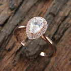 Solid 10k Rose Gold 1.00Ct Tear Drop Shape Pear Cut Halo Diamond Engagement Ring