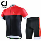 CHEJI Red-Black Bike Jersey and Spandex Shorts Padded Men's Cycle Clothing Kit