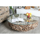 Gray Round Driftwood Twigs and Glass Coffee Tabl