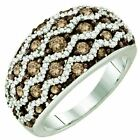 1.22 ct (ctw) 10 ct Gold Round Brown & Diamond Ladies Right Hand Fashion Band