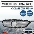 For Mercedes Benz C Class W205 Diamond Grills Black Sport Grille Grill 2015 2016