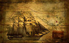 """Vintage Pirate Ship with Treasure Map Art Silk poster 8x12"""" 24x36"""" 24x43"""""""