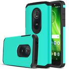 For Motorola Moto G6 Play Hard Armor Hybrid Phone Case Cover + Screen Protector