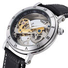 Mens Self Winding Mechanical Wrist Watch Leather Strap Skeleton Clear Vintage