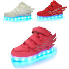 Boys Girls Wings 7 Colors LED Shoes Light Up Luminous Sneake
