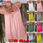 US Women's Basic Solid Sleeveless Tunic Swing Tank Top Tee S