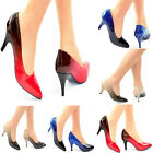 LADIES OMBRE POINTED TOE MID HEEL CLOSED TOE SMART CLASSY OFFICE COURT SHOES 3-8