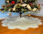"FUr Tree Skirt Scalloped 30"" 36"" 48"" 60"" Warm White Holiday Decor"