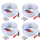 4X100ft Camara Cable BNC Video Wire Cord de seguridad para CCTV DVR Blanco