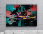 Entrepreneur Yacht Work Harder Quote Wall Canvas Print Office Decor Pop Art Home