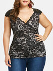 Plus Size Womens Slim Fitted Empire Waist Lace Tank Top Casual Blouse Retro Tops