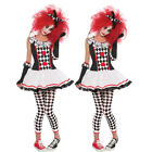 US Ladies Twister Jester Harlequin Circus Clown Halloween Fa