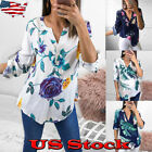 Women's Roll Sleeve V neck Floral Tops Ladies Summer Casual Blouse Shirt Loose