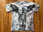 Men's Sketched Skeleton Sublimated Foil Graphic Tattoo T-Shirt Grunge Gothic