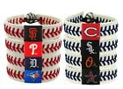 MLB Bracelet Leather Baseball Bracelet Seam Bracelet Wristband Teams Blue/ Red on Ebay