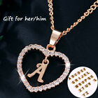 Am_ Gold Silver Plated Initial Alphabet Letter A-s Heart Pendant Chain Necklace