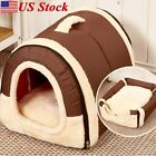 Pet Dog House Cage Bed Puppy Cat Warm Kennel Cabin Cushion Mat Washable Pad