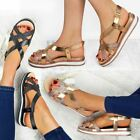 Womens Ladies Flat Sandals Summer Sparkly Strappy Flip Flops Summer Shoes Size