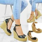 Womens Ladies Wedges High Heels Summer Sandals Studded Embellished Shoes Size UK