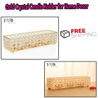 Gold Crystal Tealight Candle Holder Tray for Anniversary Celebration Coffee Tabl