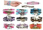 💗 All Colors Leather Cute Infinity Charm Bracelet Jewelry Multi-layered Style