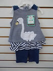 Infant Girls Rumble Tumble $28 2pc Navy & White Swan Outfit Size 3/6 Months