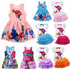 Kids Girls Poppy Trolls Dress Summer Princess Tutu Dress Casual Party Skirt 3-8Y image