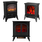 Log Burning Flame Effect Stove Electric Fire Heater Fireplace Standing with Fan