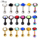1pc Surgical Steel Gem Barbell Ear Cartilage Tragus Helix Stud Earring Piercing image
