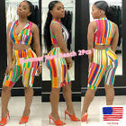 Summer Women Striped Wrapped Chest Print Exposed Nvel Shorts Beach 2Pcs