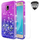 For Samsung Galaxy J3 2018/J3 Star/Achieve Quicksand Glitter Case W/Glass Screen