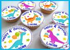 Dinosaur Birthday/Thank you Edible Personalised Cupcake Toppers