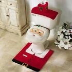 Merry Christmas Toilet Seat  Cover Santa Claus Bathroom Mat Xmas Decorations