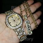 MEN ICED OUT GOLD PLATED LUXURY LAB DIAMOND WATCH & XANAX NECKLACE COMBO SET  image