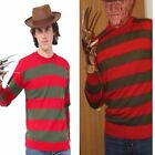 Mens Freddy Red & Green Stripe  Jumper For  Explorer Hat Hand Claw Glove Adult