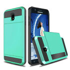 For Samsung Galaxy J7V / J5 / J3 Emerge Phone Case Card Holder Pocket Hard Cover