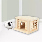 Hamster flat topped house for pet wood chew toys for hamster chinchillas others