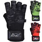 AQF Weight Lifting Gloves with 50cm Wrist Wraps Support Gym Gloves Fitness