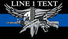 Thin Blue Line Decal - Police Swat Thin Blue Line Decal WITH YOUR CUSTOM TEXT
