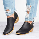 Womens Ladies Ankle Boots Low Heel Mid Block Booties Zipper Slip On Pumps Shoes