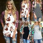Plus Size Women Blouse Long Sleeve Sleeve Floral Print T-Shi