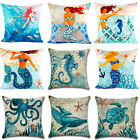 Turtle Mermaid Pattern Pillow Case Marine Nautical Ocean Sea Life Cushion Cover