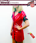 Sexy Red PVC Nurse Fancy Dress Hen Night Outfit Party Costume (SPG0099)All Sizes