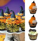 12Pcs/Lot Halloween Spider Cupcake Wrappers Paper Cake Toppe