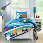 Trendy Boys Truck Airplane Motorcycle Quilted Blue Multi Comforter Set + Pillow