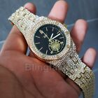 Luxury Mens Iced out Rappers Lab Diamond Metal Band Dress Clubbing wrist Watch