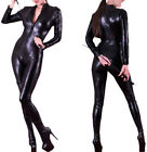 Sexy Stretch 4-Way Black Wet PVC Look Latex Spandex Rubber Catsuit Valentines