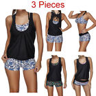 Women's 3 Pieces Athletic Swimwear Tribal Sports Swimsuits S
